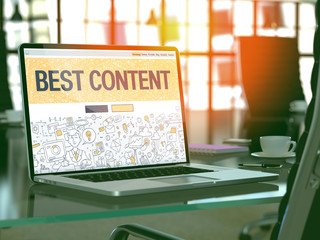 Best Content - Closeup Landing Page in Doodle Design Style on Laptop Screen. On Background of Comfortable Working Place in Modern Office. Toned, Blurred Image. 3D Render.