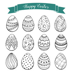 Hand drawn Easter eggs collection. Doodle eggs with zentangle ornaments black on white background. Set of whimsical Easter eggs in sketch style.
