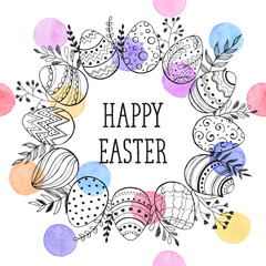 Easter wreath with easter eggs hand drawn black on white background. Decorative doodle frame from Easter eggs and floral elements. Easter eggs with ornaments in circle shape with watercolor dots.