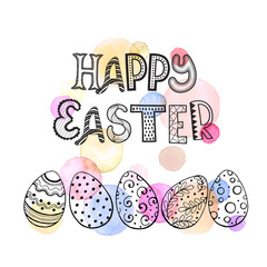 Greeting card with Easter eggs hand drawn black on white background. Happy easter lettering in zentangle style. Easter eggs with ornaments with watercolor dots in pastel colors.