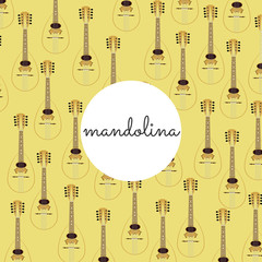 folk string instrument mandalina on a colored background