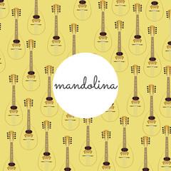 folk string instrument mandalina on a colored background