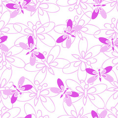 Pink butterfly, abstract seamless pattern on white background.