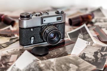 Fototapeta Stary aparat fotograficzny, Polaroid obraz