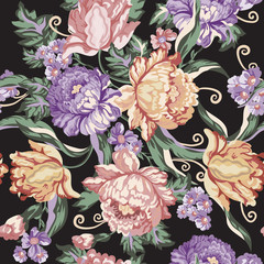 Seamless vintage flower and curls pattern on black background