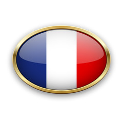 French flag in golden frame