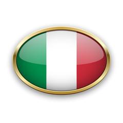 Italian flag in golden frame
