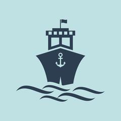 Icon Of Cruise Or Ship. EPS 10