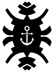 Black and white hipster ornament with anchor