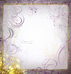 abstract flowers  in luxury style on a gray magic background with gold tinsel