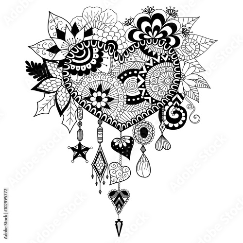 Heart Shape Floral Dream Catcher For Coloring Book Adult
