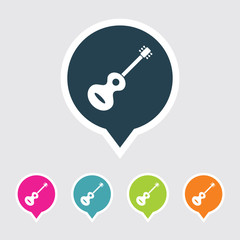 Very Useful Editable Guitar Icon on Different Colored Pointer Shape. Eps-10.