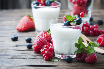 Healthy yougurt with mix of berry