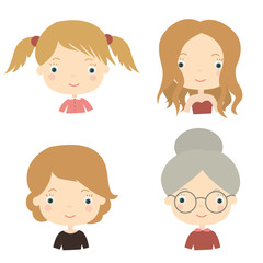 Different ages. Child, adolescent girl, adult woman, old lady. Vector illustration