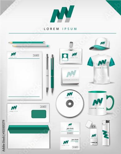 Abstract gray and green logo and corporate identity template abstract gray and green logo and corporate identity template realistic set of cups business card accmission Choice Image