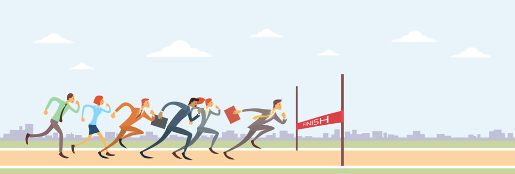 Business People Group Run To Finish Line Team Leader Competition