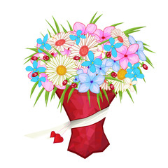 illustration of bouquet with different flowers. Illustration can be used in your own design, romantic, announcements, greeting cards, posters, and etc