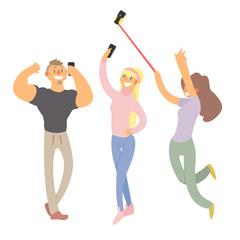 People Making Selfie. Vector Illustration Set