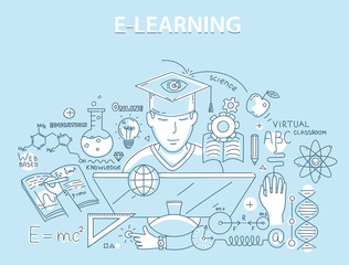 Line style design concept of e-learning and online education