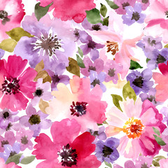 Vector pattern with flowers and plants. Watercolor floral illustration.Seamless pattern.
