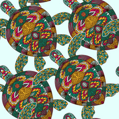 Turtle decorated with floral ornaments. Vintage colorful seamless pattern. Hand drawn vector illustration