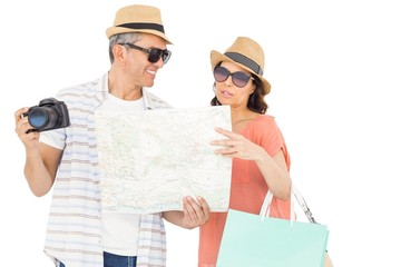 Couple with map and camera