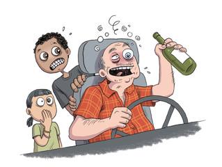 Chauffeur de bus ivre. Drunk bus driver. Conductor del aútobus borracho.