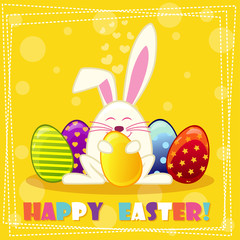 Happy ester rabbit and multicolored eggs in vector
