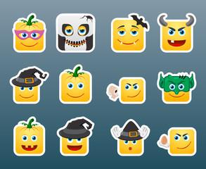 Halloween smile stickers set