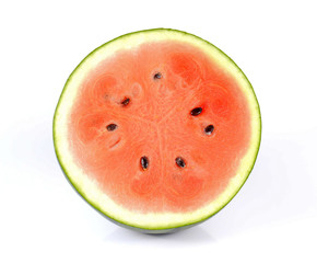 Watermelon cut half on white background.