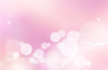 Pastel soft pink abstract background with white bubbles and glowing glitter effect