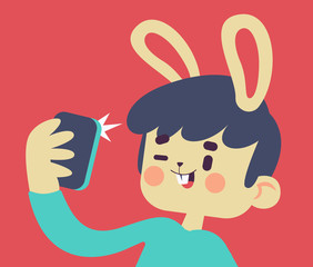 Cute Bunny Taking a Selfie