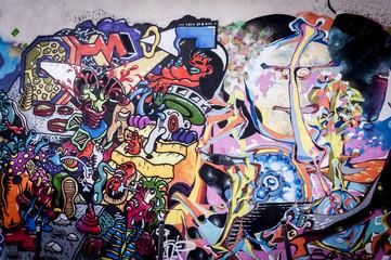 Fond mur de graffitis aux couleurs vives