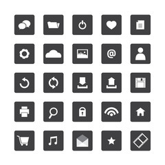 Black and White Website Vector Icons Set.