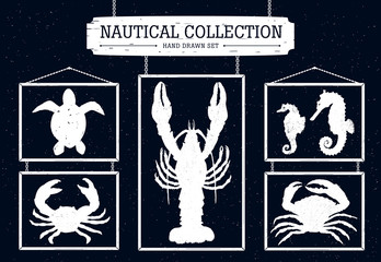 Hand drawn nautical collection on black background.
