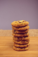 Fresh baked Stack of warm oatmeal cranberry cookies