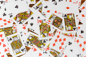 Playing cards on a wooden background