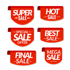 Sale tags labels. Special offer, hot sale, special sale, final sale, best sale, mega sale discount banners