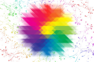 large flower of all colors of the rainbow consists of triangular elements, radial blur. . located around the flower and rainbow paint splatter stains.