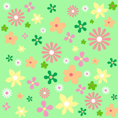 ornament on this illustration, bright, colorful spring, diverse. flowers of different shapes, colors and sizes The pattern of dynamics, fun and joyful spring and summer mood.