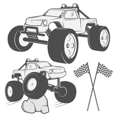 Set of jeep monster design elements for emblems, icon, tee shirt ,related emblems, labels