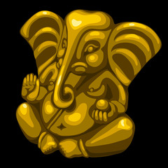 Golden statue of an elephant, one object closeup