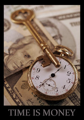 Time is Money. Concept image with a skeleton key, brass watch, US currency.