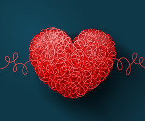 Intertwined red heart