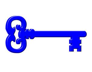 Blue key on white background