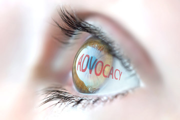 Advocacy reflection in eye.