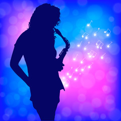 girl and sax in shine