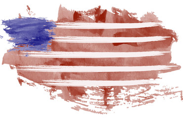 USA flag. USA watercolor flag. Grunge USA flag. Grunge USA watercolor flag.