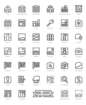Real Estate Agents Square Line Icon Set