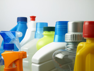 Cleaning supplies in plastic containers